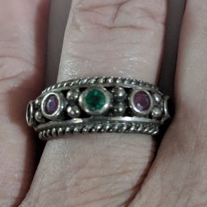 Vintage Sterling Emerald, Ruby, & Sapphire Ring
